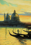 gondolas on landing stage in venice, painting by oil paints on a