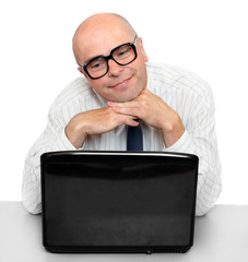 Funny businessman with laptop.