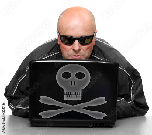 Hacker with laptop.