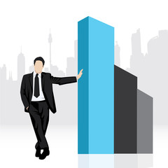 business man silhouette with graph vector background
