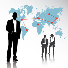 business team background with globe graph