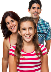 Happy hispanic family isolated on white (dad,mom and girl)
