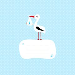 Stork With Baby Boy Speech Bubble Blue Dots