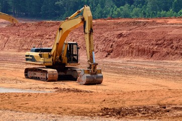 heavy equipment at road construction site