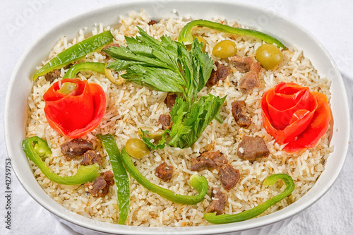 Rice with meat and vegetables