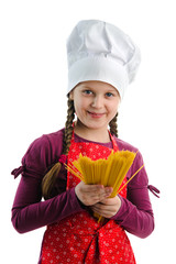Little chef with spaghetti