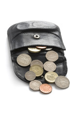 wallet or purse with sterling coins