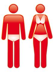 Icon eines Paares mit Sonnenbrand
