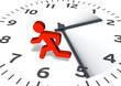 Leinwanddruck Bild - Figur & Uhr: Von der Zeit gejagt
