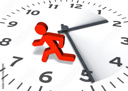 Leinwanddruck Bild Figur & Uhr: Von der Zeit gejagt