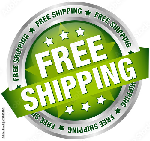 "Button Banner ""Free Shipping"" Green/Silver"