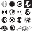 Globe icons. Vector globe sign set.