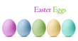 Colorful Easter Eggs isolated on white background with clipping