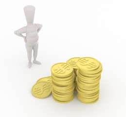 3D mannequin looking at money