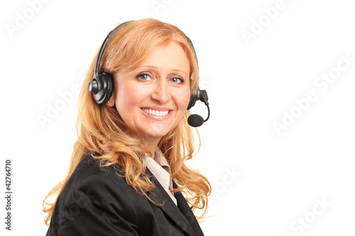 Female dispatcher, isolated on white background