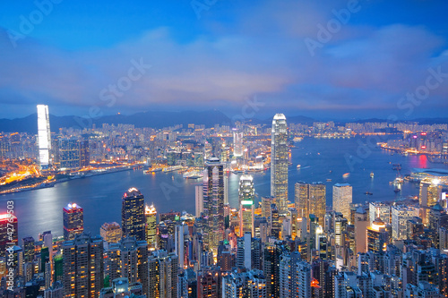 Hong Kong skyline from Victoria Peak at sunrise