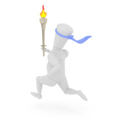 3D mannequin running with Olympic torch.