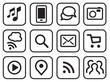 Vector iconset mobile communication lineart