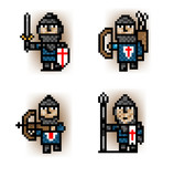pixel soldiers from blue army