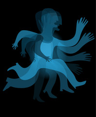 blue transparent man movement sequence