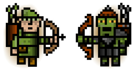 elf and ork pixel archers