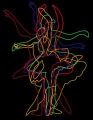 ballet dancer color outline