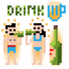 pixel people drinking in swimming bath