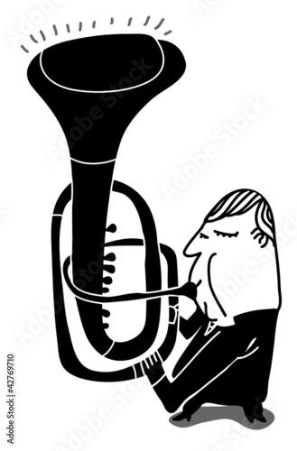 trumpeter play a weird trumpet