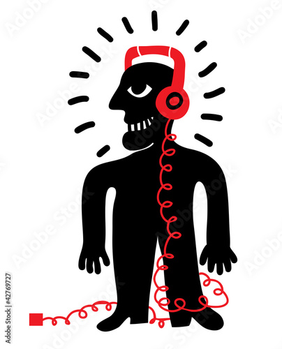man listening music with headphones and player © Complot