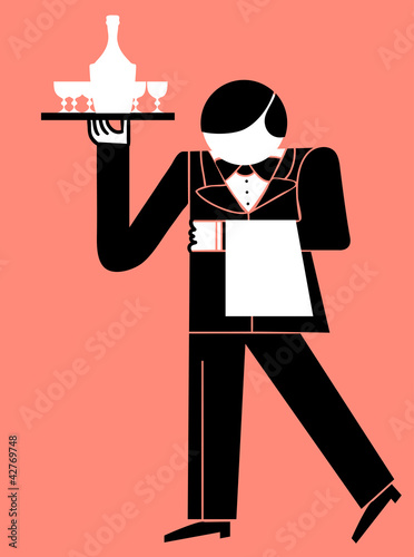 waiter with tray of drinks and towel in hand