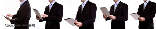 Collection of young business man using a touch screen device aga