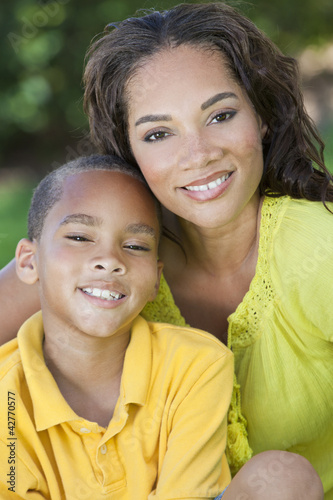 African American Woman Mother WIth Boy Son