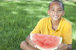 Happy African American Boy Child Eating Water Melon