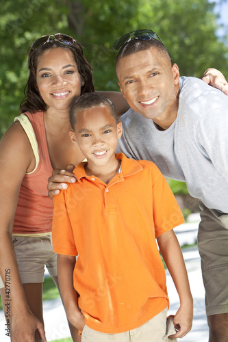 African American Family Parents WIth Boy Son