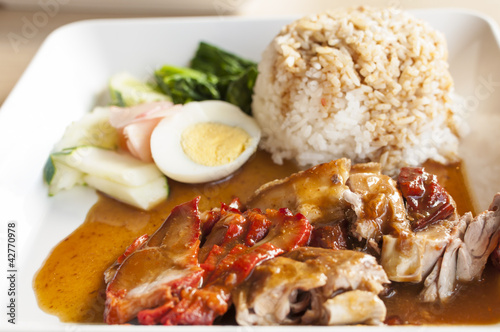 Chinese style roasted pork with rice and egg