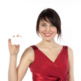 Happy caucasian woman with blank business card