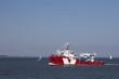 Leinwanddruck Bild - supply ship leaving the harbour
