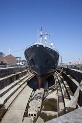 shipyard with blue sky