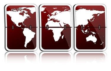 Fallblattanzeige Weltkarte weinrot