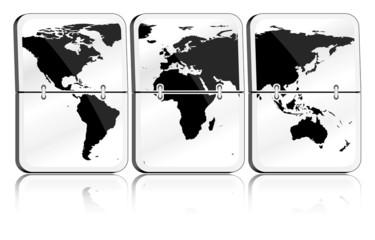 Gläserne Fallblattanzeige Weltkarte schwarz