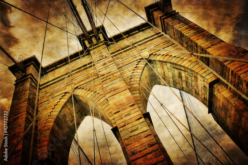 Brooklyn bridge vintage view