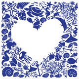 White background heart is surrounded of fishes, dolphins, shells