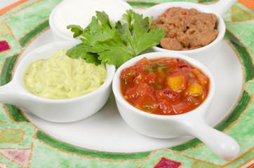 Mexican Dips  - Salsa, Guacamole, Sour Cream & Refried Beans