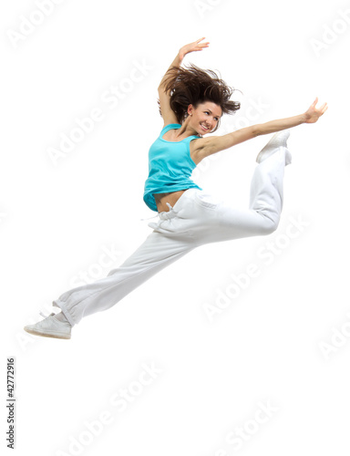 Dancer girl jumping and dancing