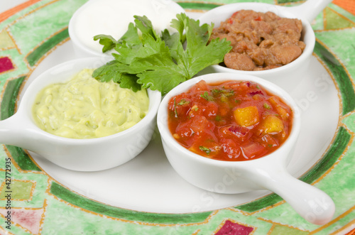 Mexican Dips  - Salsa, Guacamole, Sour Cream & Refried Beans