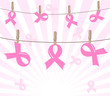 Vector illustration of a breast cancer pink ribbons on rope on s