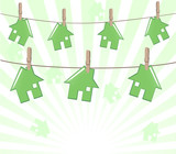 Vector illustration of the houses on rope on sunny background. R