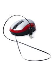 rot silber computermaus mit usb kabel