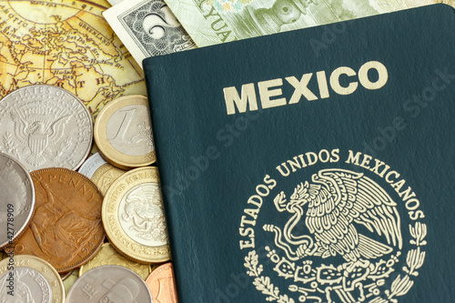 Mexican passport and foreign currency