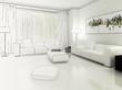 Apartment in Weiß (Zeichnung)